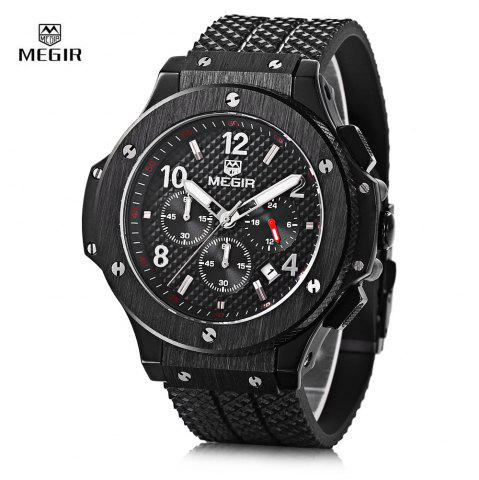 Outfits MEGIR 3002G Male Quartz Watch with Date Function Silicone Band Luminous Pointer 30M Water Resistance