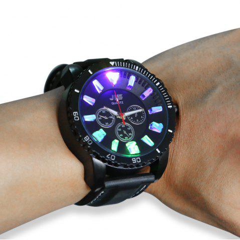 Best JIS Flash Light Men Quartz Watch with Leather Strap - BLACK  Mobile