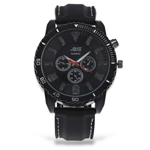 Fancy JIS Flash Light Men Quartz Watch with Leather Strap BLACK