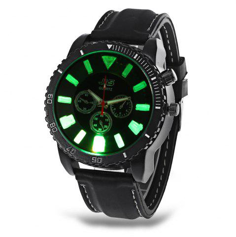 Shops JIS Flash Light Men Quartz Watch with Leather Strap - BLACK  Mobile