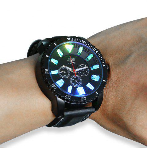 New JIS Flash Light Men Quartz Watch with Leather Strap - BLACK  Mobile