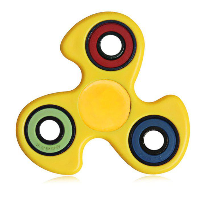 608 ABS Fidget Spinner Stress Relief Product Adult Fidgeting ToyHOME<br><br>Color: YELLOW; Type: Triple Blade,Trolley Coin; Frame material: ABS; Color: Yellow;