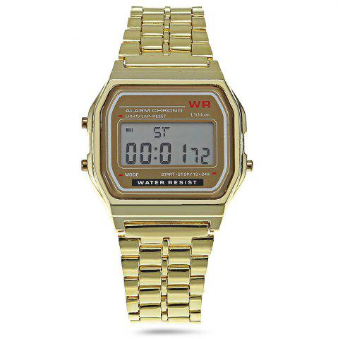 New Multifunctional Digital Men Watch with Stainless Steel Strap - GOLDEN  Mobile