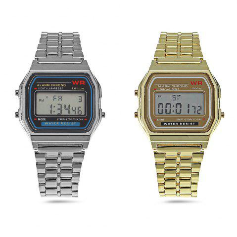 Trendy Multifunctional Digital Men Watch with Stainless Steel Strap - GOLDEN  Mobile