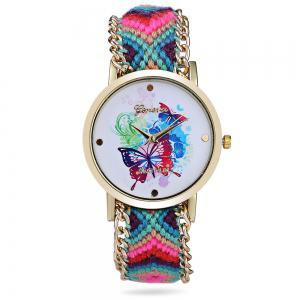 Geneva Butterfly Face Women Quartz Watch with Golden Case - BLUE AND PINK
