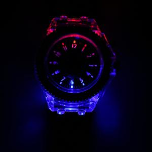 Cool Flash Light Jelly Diamond Men Quartz Watch with Silicone Strap - BLACK