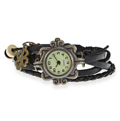Shops Stylish Quartz Watch with Four-leaf Clover Pendant Round Dial and Knitting Leather Watch Band for Women - BLACK  Mobile