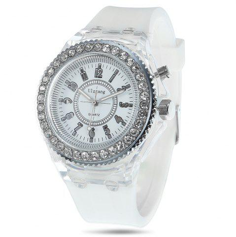 Sale Cool Flash Light Jelly Diamond Men Quartz Watch with Silicone Strap WHITE