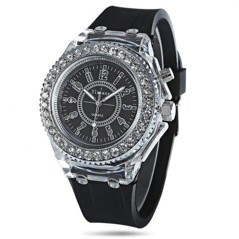 Chic Cool Flash Light Jelly Diamond Men Quartz Watch with Silicone Strap BLACK