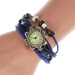 Stylish Quartz Watch with Four-leaf Clover Pendant Round Dial and Knitting Leather Watch Band for Women -