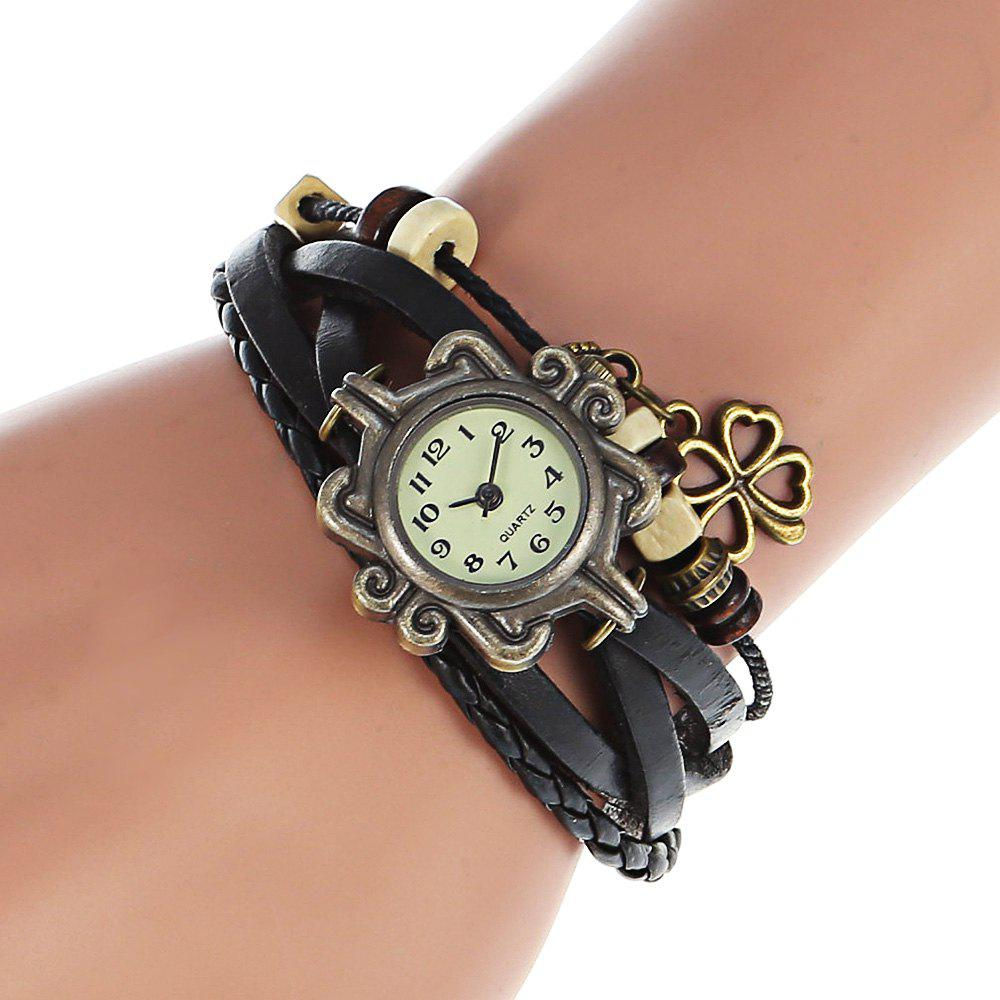Stylish Quartz Watch with Four-leaf Clover Pendant Round Dial and Knitting Leather Watch Band for WomenJEWELRY<br><br>Color: BLACK; Watches categories: Female table; Style: Jewellery;