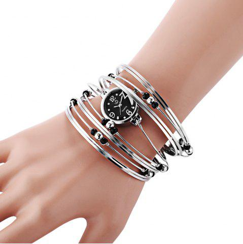 Affordable Fashionable Multi-Strand Rings Bangle Design Quartz Watch with Numerals and Dots Hour Marks for Female