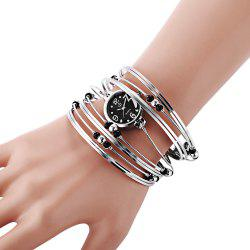 Fashionable Multi-Strand Rings Bangle Design Quartz Watch with Numerals and Dots Hour Marks for Female -
