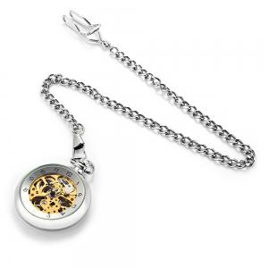 Round Shape Design 12 Arabic Numbers Indicate Vintage Mechanical Pocket Watch -