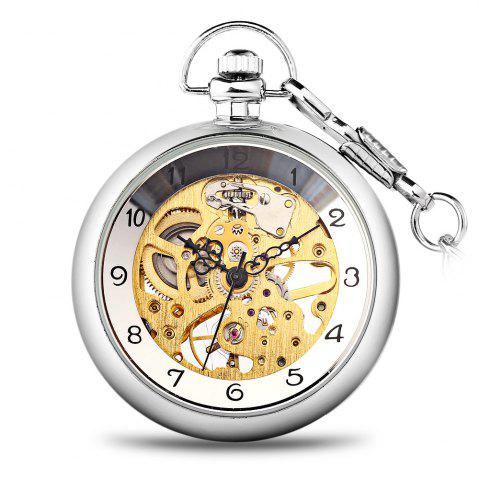 Trendy Round Shape Design 12 Arabic Numbers Indicate Vintage Mechanical Pocket Watch