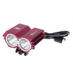 SolarStorm X2 High Brightness 2 x Cree XM-L U2 LED 4 Modes Owl Pattern Bicycle Light (4 x 18650 Battery Included, 4000 Lumens, Red) - RED