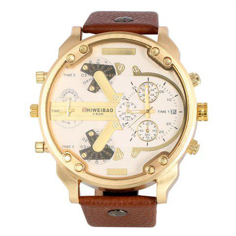 Chic Shiweibao A3137 Double Movt Quartz Watch Male Leather Band Wristwatch