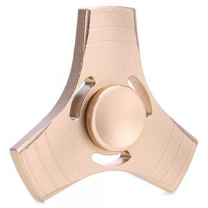 Aluminum Alloy Gyro Tri Fidget Spinner Stress Reliever Pressure Reducing Toy for Office Worker - Golden - 6.5*6.5*1.7cm