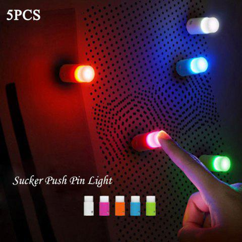 Affordable 5PCS Small Push Pin Light Multi-functional Colorful LED Sucker for Bulletin Board Refrigerator - RANDOM COLOR  Mobile