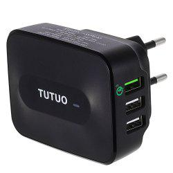 TUTUO QC - 028P Qualcomm Certified Quick Charge 3.0 Power Adapter Wall Charger Triple USB Ports -