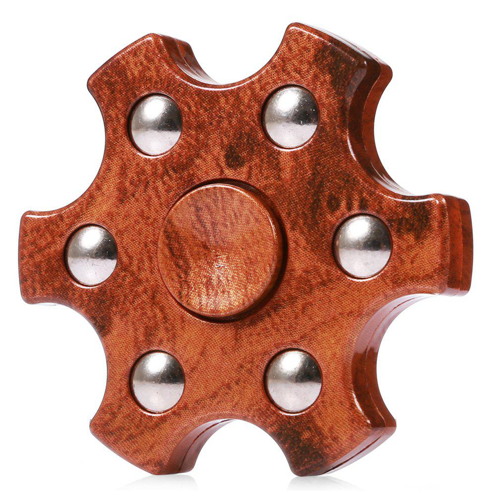 Colorful Hexagon Fidget Spinner ADHD Stress Relief Toy Relaxation Gift for AdultsHOME<br><br>Color: BROWN; Type: Fire Wheel,Polygon,Steel Ball,Wooden; Frame material: ABS; Color: Brown;