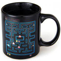 Magical Color Changing Temperature Control Mug Labyrinth Pattern Coffee Cup - BLACK
