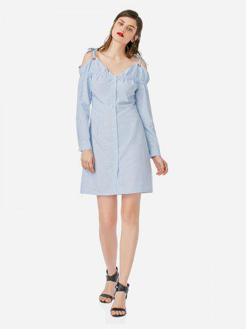 ZAN.STYLE Off Shoulder Dress - BLUE AND WHITE - L