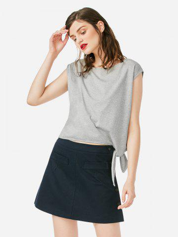 ZAN.STYLE Sleeveless Side Knotted Top - GRAY - L