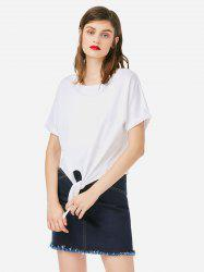 ZAN.STYLE Crew Neck Knotted T-shirt -