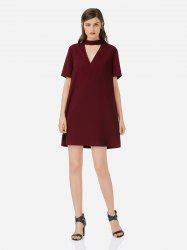 Choker Neck Shirt Dress -