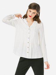 ZAN.STYLE Pleated Front Blouse -