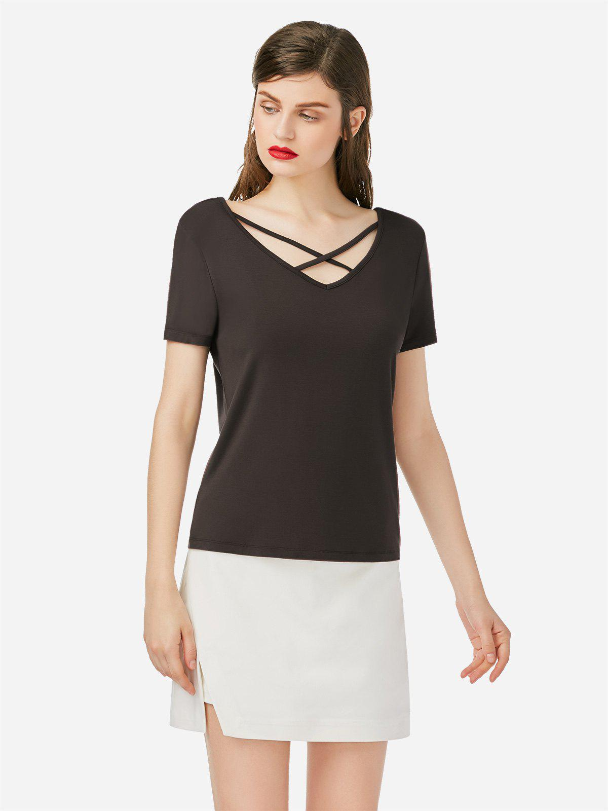 Shop Lace Up V Neck T-shirt