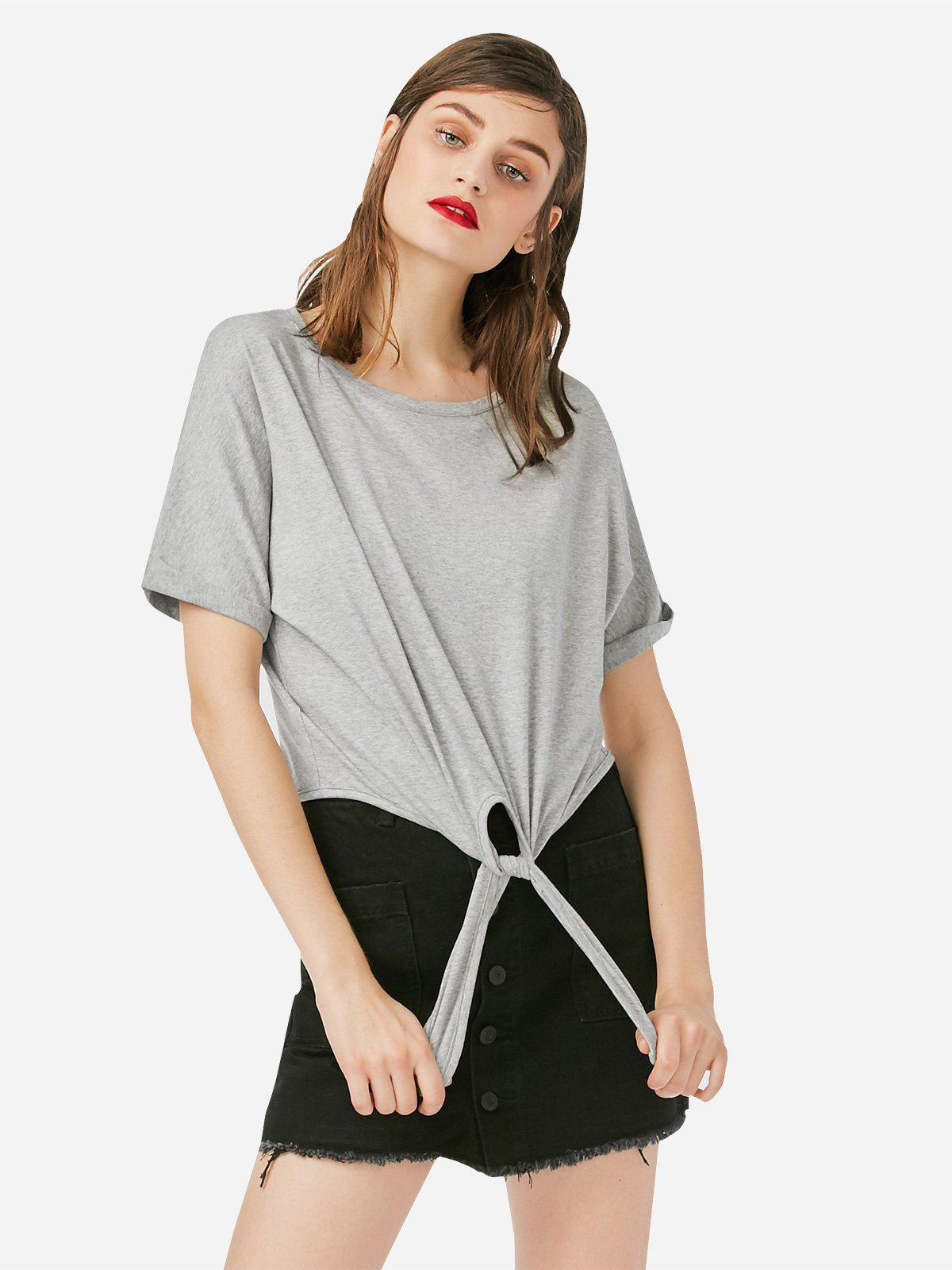Chic ZAN.STYLE Crew Neck Knotted T-shirt
