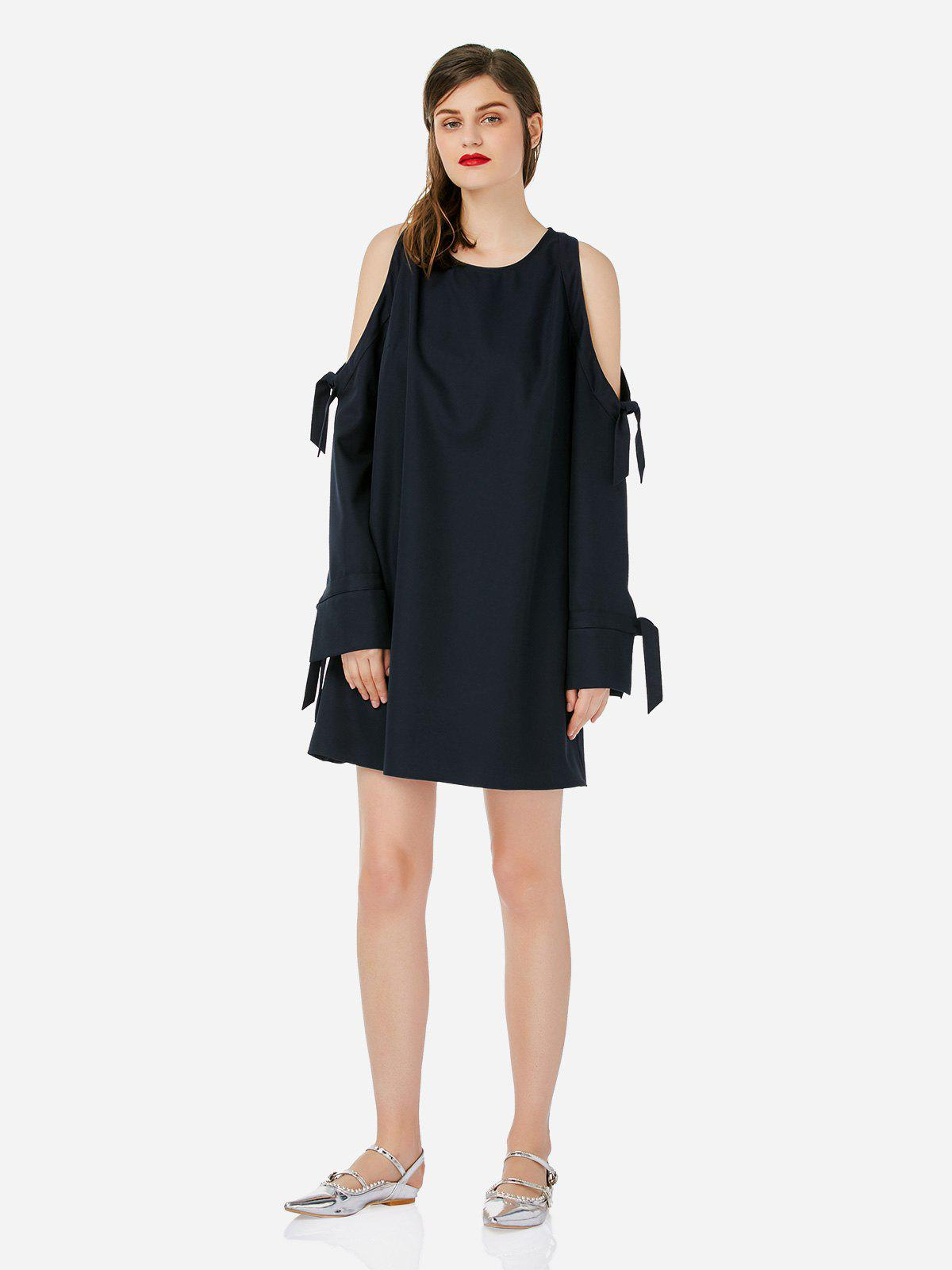 Unique ZAN.STYLE Tie Sleeve Cold Shoulder Dress