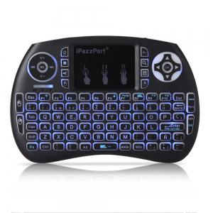 iPazzPort Wireless Mini Keyboard Backlight Function with Touchpad - Black - Spanish