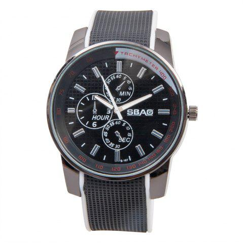 Hot Fashionable Quartz Wrist Watch with Analog Display Rubber Watchband for Men - WHITE  Mobile