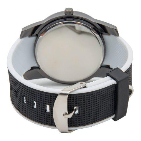 Cheap Fashionable Quartz Wrist Watch with Analog Display Rubber Watchband for Men - WHITE  Mobile