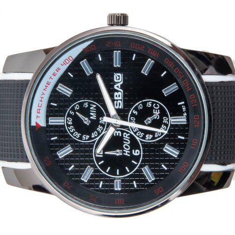 Fashion Fashionable Quartz Wrist Watch with Analog Display Rubber Watchband for Men - WHITE  Mobile