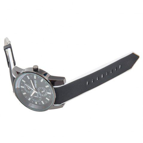 Outfits Fashionable Quartz Wrist Watch with Analog Display Rubber Watchband for Men - WHITE  Mobile