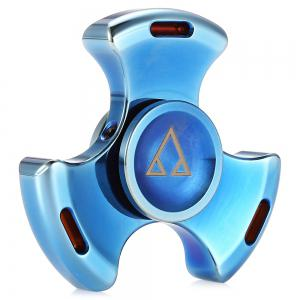 Tri-wing Stainless Steel ADHD Fidget Tri-spinner Funny Stress Reliever Relaxation Gift - Blue - One Size