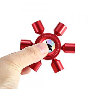 KELIMA Aluminum Alloy ADHD Fidget Spinner Rudder Shape Stress Reliever Toy Relaxation Gift - RED