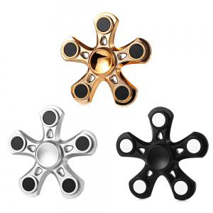 Five-blade Aluminum Alloy Fidget Spinner with Copper Bearing Stress Relief Product Adult Fidgeting Toy - SILVER