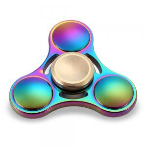 Round Tri-blade ADHD Titanium Alloy Fidget Spinner Stress Relief Toy Relaxation Gift - COLORFUL