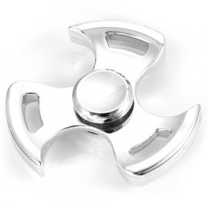 Three-leaf Spinning Blade ADHD Fidget Tri-spinner Zinc Alloy + R188 Stainless Steel Stress Relief Product Adult Fidgeting Toy - SILVER