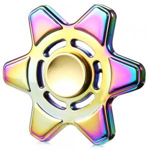 Hexagram Zinc Alloy ADHD EDC Fidget Spinner Stress Reliever Toy Relaxation Gift - Colormix