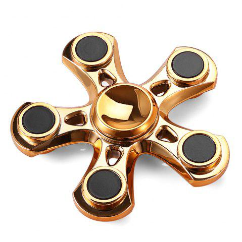 Trendy Five-blade Aluminum Alloy Fidget Spinner with Copper Bearing Stress Relief Product Adult Fidgeting Toy - GOLDEN  Mobile