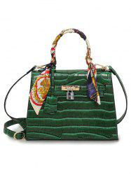 DI DING W21026 PU Leather Handbag Shoulder Bag with Scarf Lock for Women -
