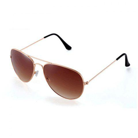 Affordable Fashionable UV400 Metal Frame PC Sunglasses Eyewear Retro Eyes Protector Outdoor Activities Leisure Necessaries TEA COLORED
