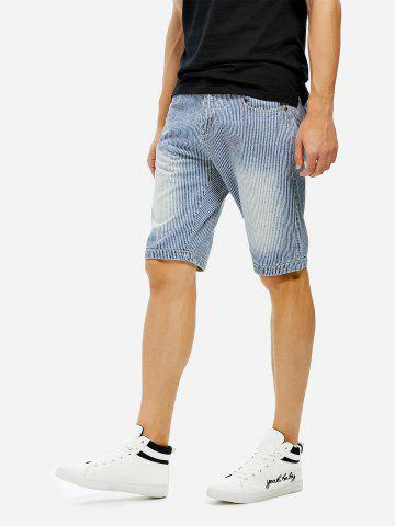 Affordable Knee Length Contrast Denim Shorts - 32 BLUE STRIPED Mobile
