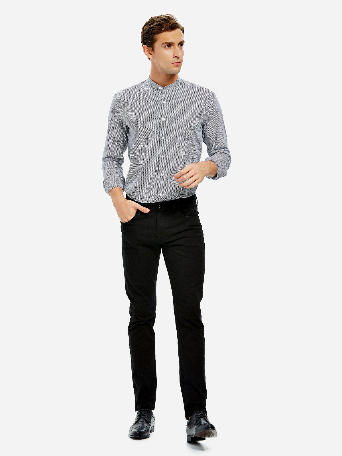 Best ZAN.STYLE Band Collar Dress Shirt
